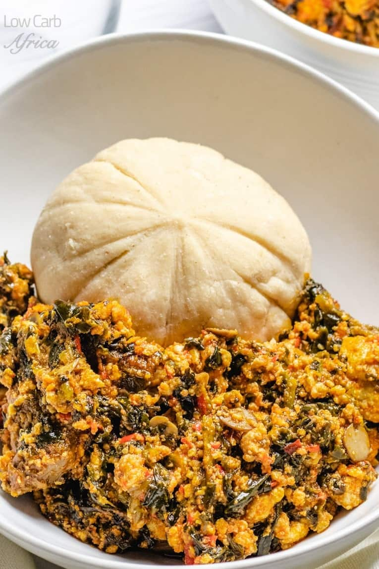 Egusi soup served with fufu
