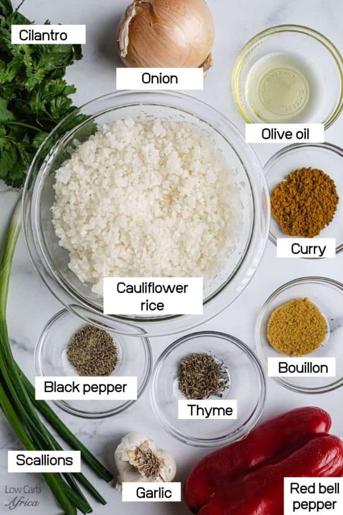 cauliflower rice, scallions, parsley, curry