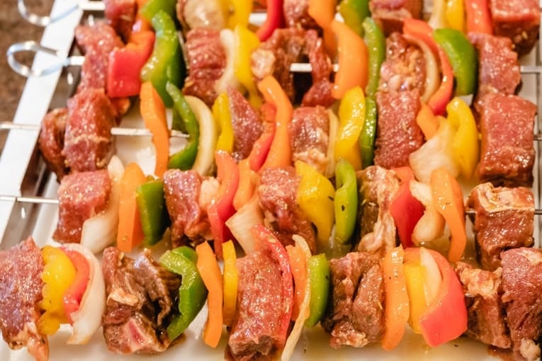 shish kebab about to go on the grill