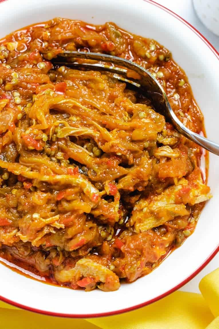 close up image of eggplant chicken stew