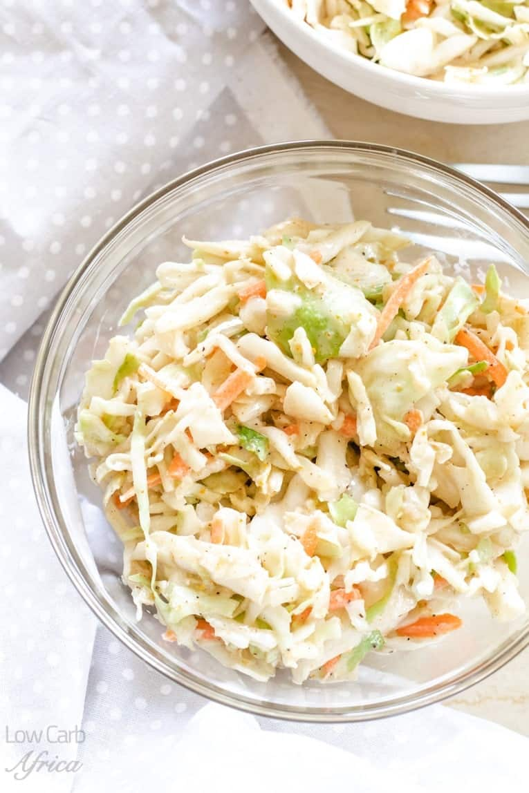 low carb spicy coleslaw is sugar free, gluten free and low carb.