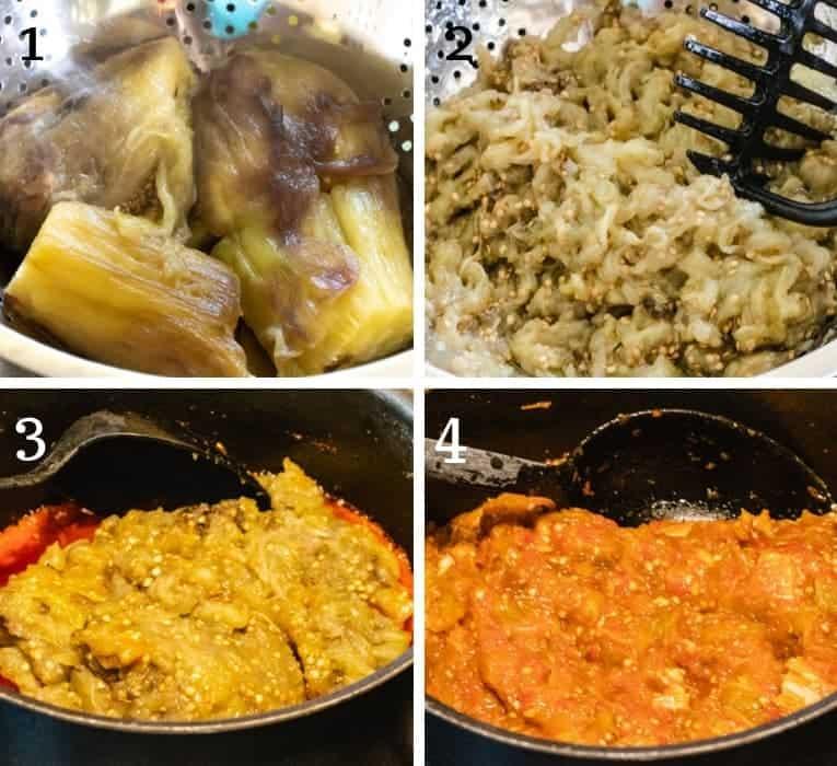 steps to prepare eggplant chicken stew
