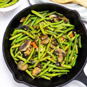 sauteed green beans and mushrooms social media image