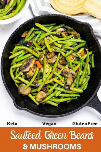 pinterest image for sauteed green beans and mushrooms
