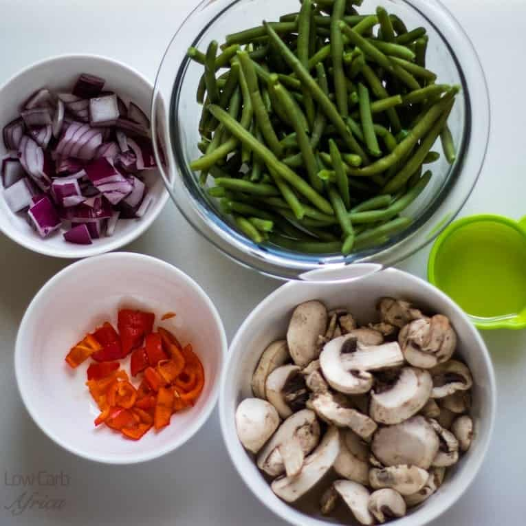 ingredients used to prepare green beans and mushrooms