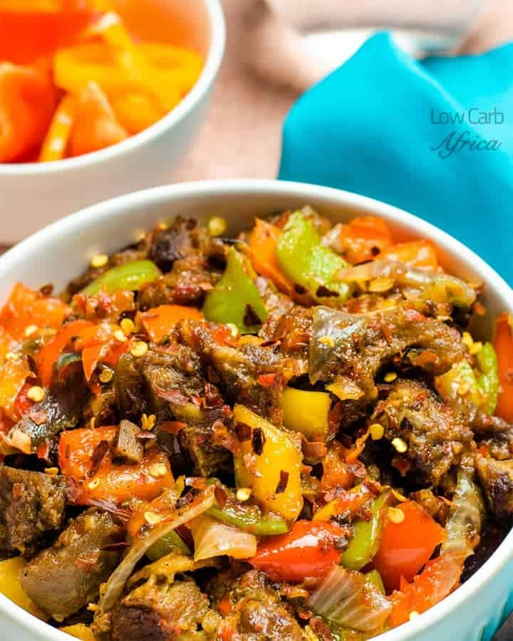 asun-recipe-peppered goat meat is a delectable side dish eaten in Nigeria