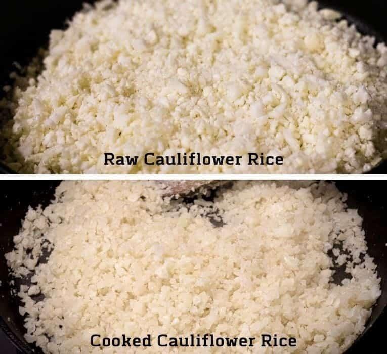 Cauliflower rice raw and cooked