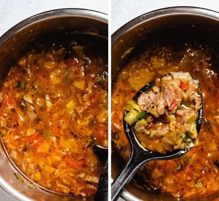 Vegetable Beef Soup with Cabbage cooking in instapot