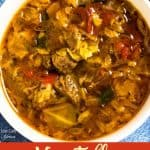 Vegetable Beef Soup with Cabbage pinterest image