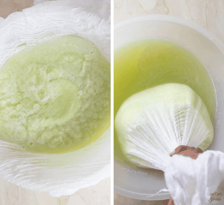 squeezing water using cheesecloth for cabbage fufu