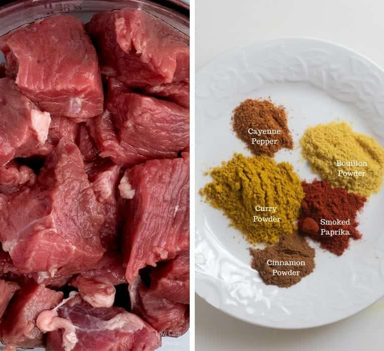 meat and spices used for lamb curry