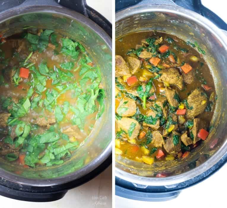 Lamb curry with coconut milk with spinach added
