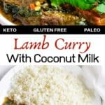 Lamb curry with coconut milk pinterest image