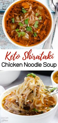 pinterest image for Shirataki Chicken Noodle Soup