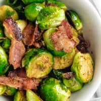 Pan Fried Brussels Sprouts With Bacon close up image
