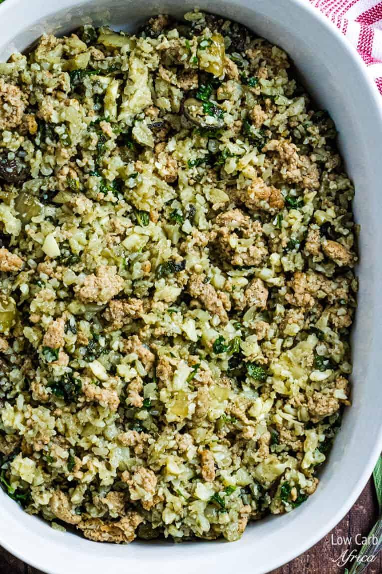 closeup image of Cauliflower Rice And Sausage Stuffing