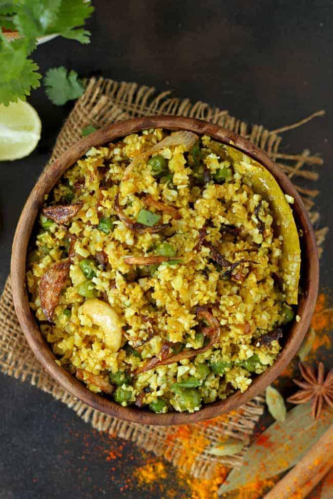 Indian Cauliflower Rice Pilaf