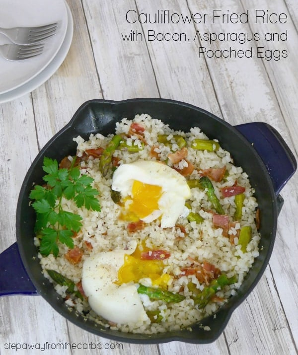 Cauliflower Fried Rice with Bacon, Asparagus and Poached Eggs