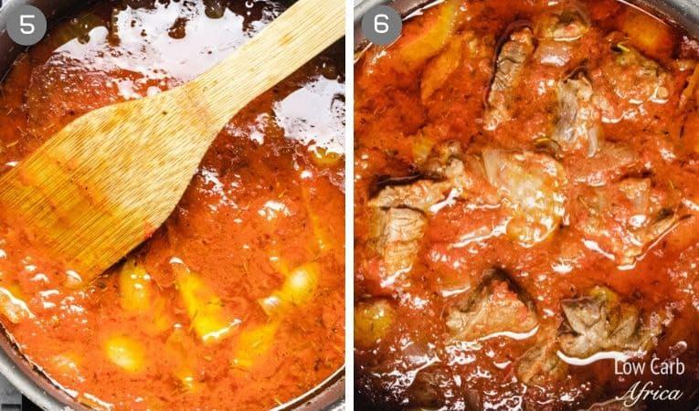 Nigerian beef stew collage