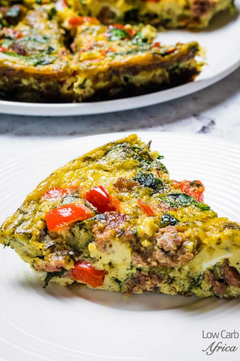 slice of frittata on plate