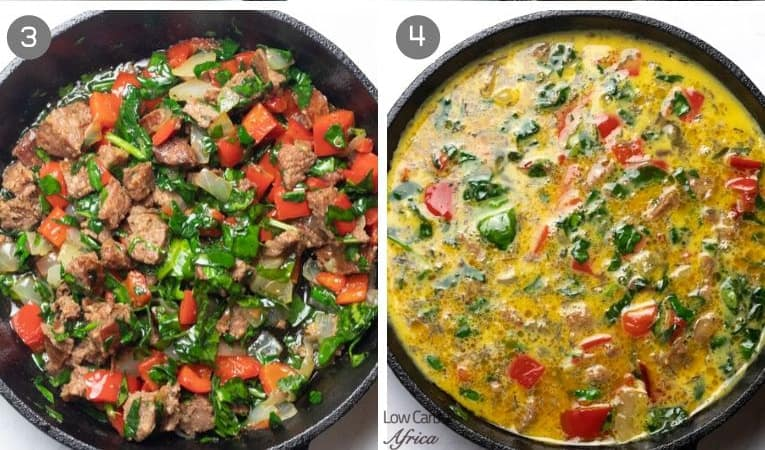 second collage of frittata preparation