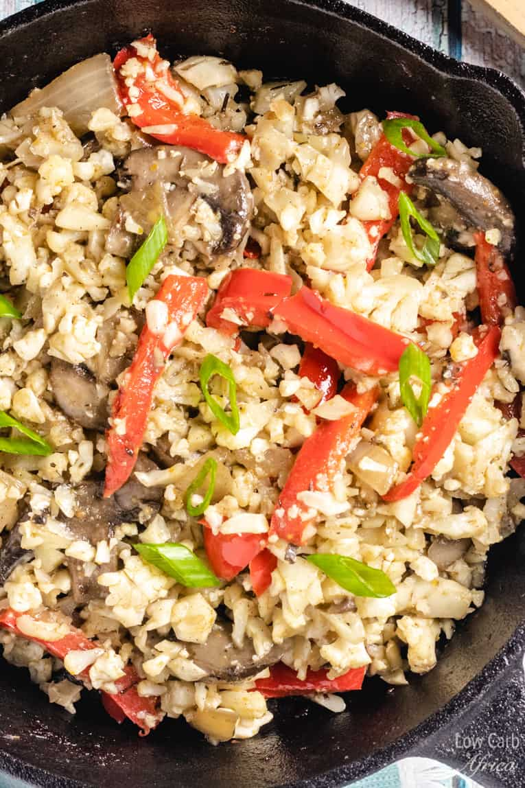 Mushroom Cauliflower Rice with Peppers is one of the easiest and fastest low carb dishes to make