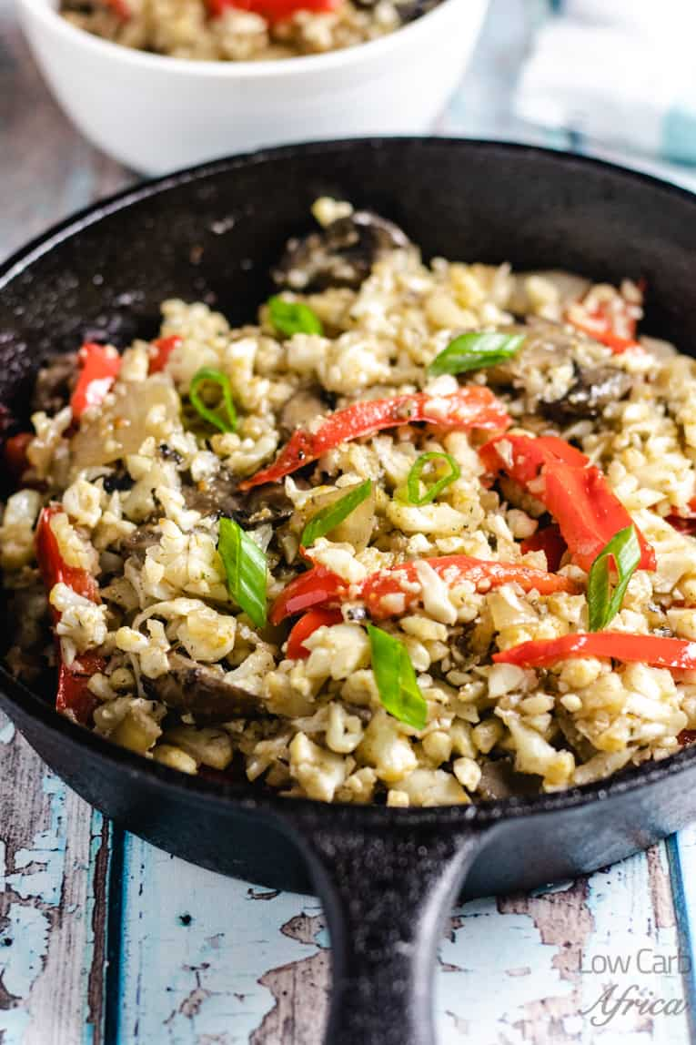 closeup image of mushroom cauliflower rice