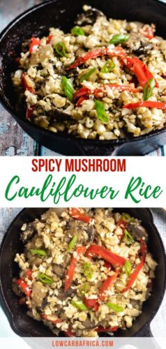 Mushroom Cauliflower Rice with Peppers pinterest image