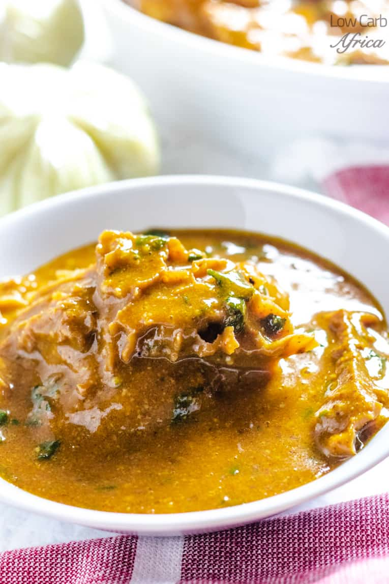 ogbono soup is served with fufu like pounded yam or eba