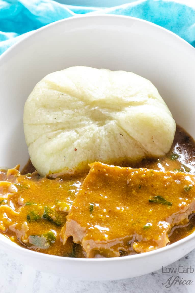 ogbono soup served with cauliflower fufu