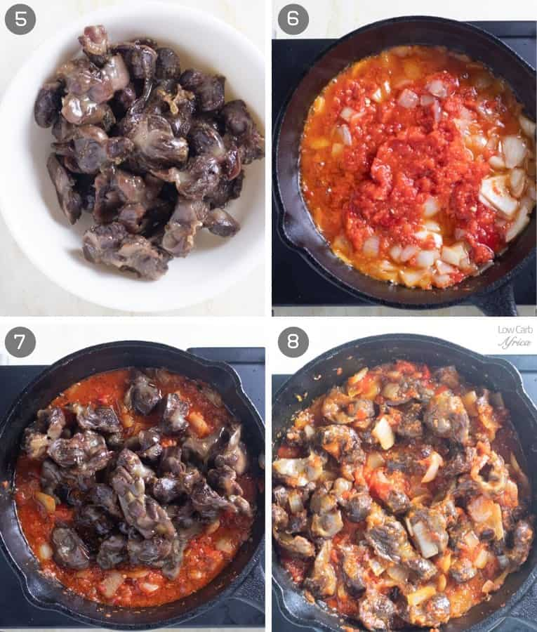 steps in making peppered gizzard