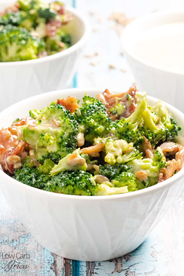 Broccoli Salad With Bacon And Sunflower Seeds ready to serve