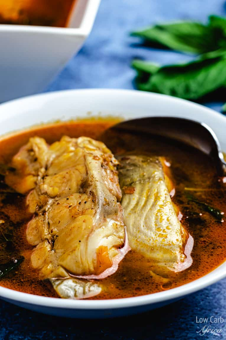 a bowl of african fish pepper soup. perfect for your african keto diet