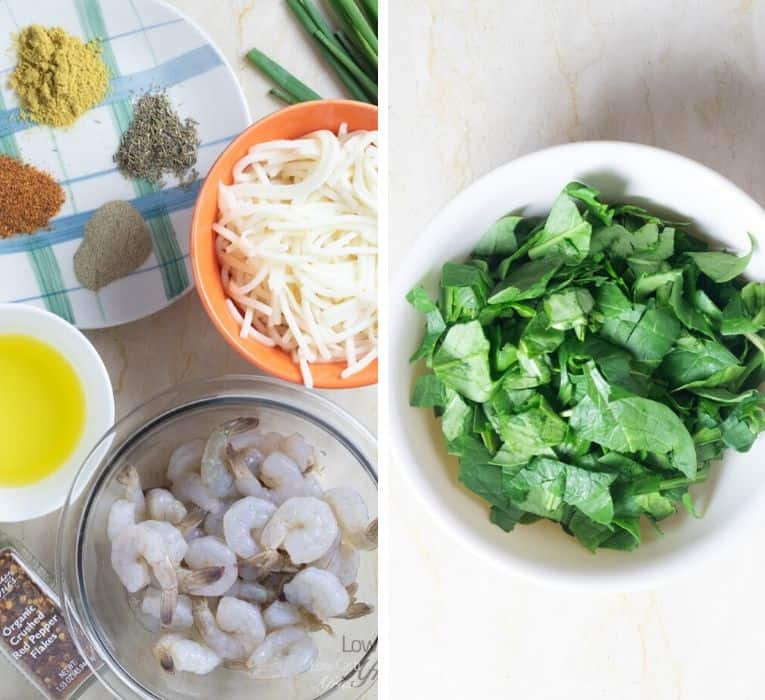 ingredients used in making Palmini Pasta Shrimp Stir Fry