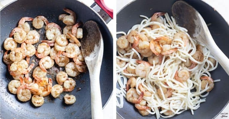 how to prepare palmini noodle shrimp stir fry