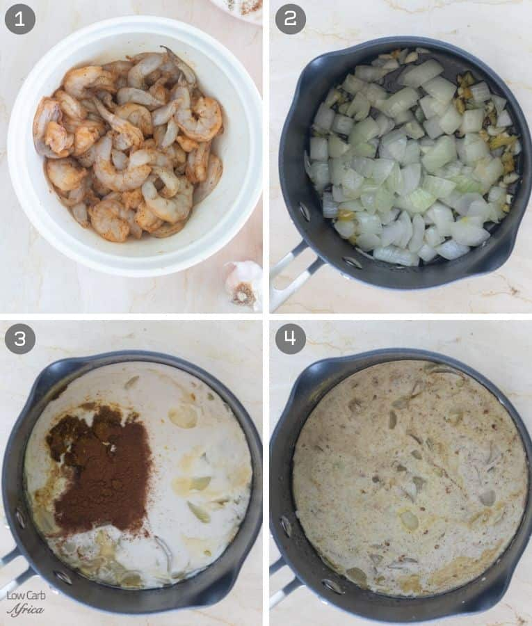 collage showing steps on how to make shrimp curry