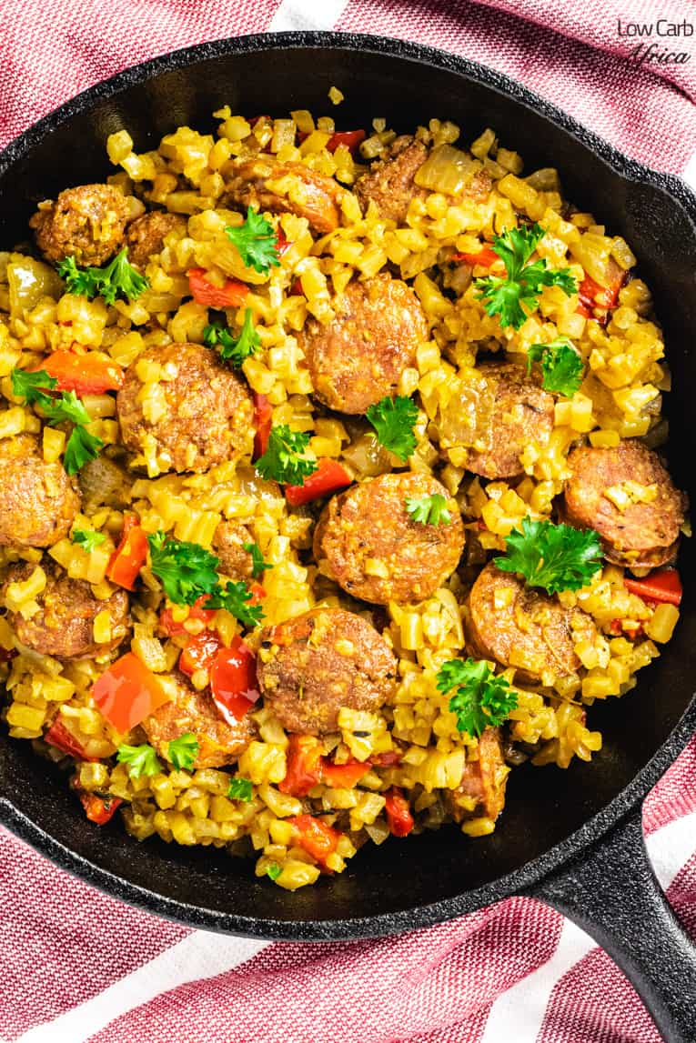 Sausage Pepper Cauliflower Rice Skillet