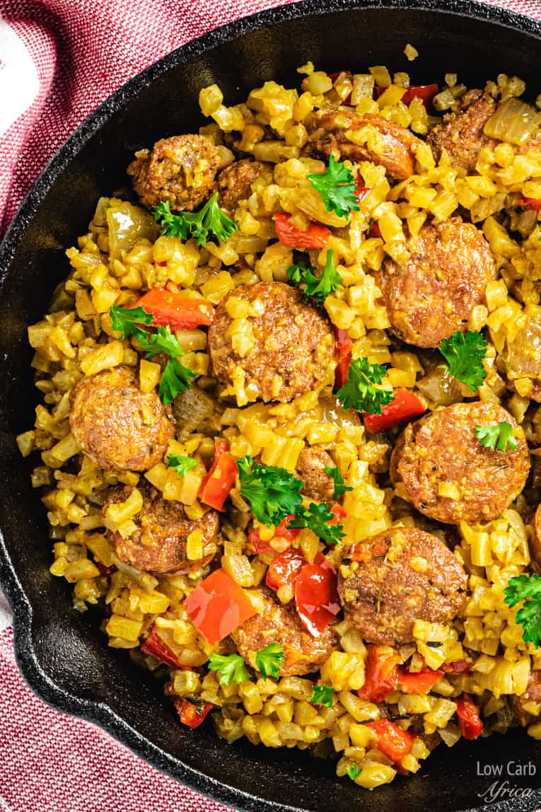 closeup image of sausage pepper cauliflower rice skillet
