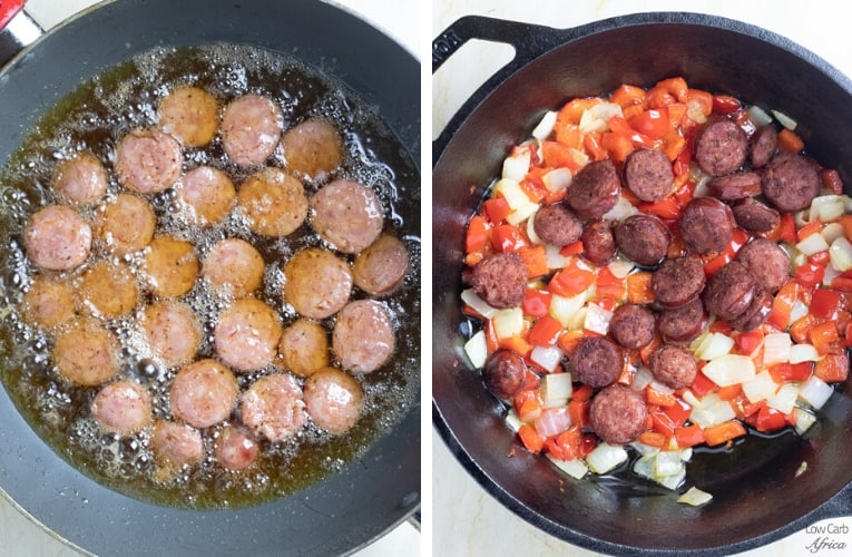 frying sausages with vegetables
