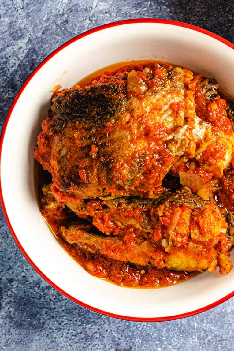 closeup shot of Nigerian fish stew