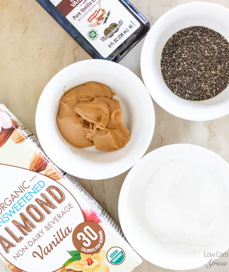 ingredients used in making Keto Peanut Butter Chia Pudding