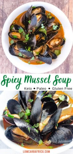 pinterest image of spicy mussel soup