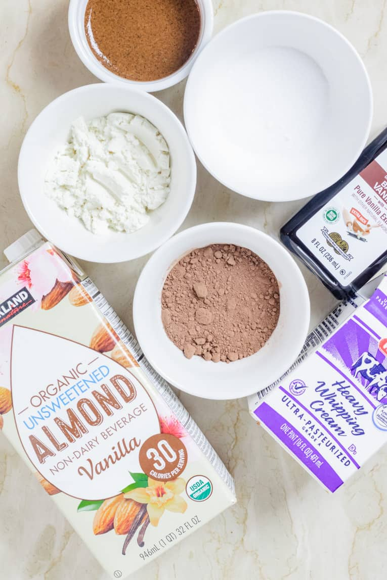 ingredients used in making Keto Chocolate Almond Protein Shake