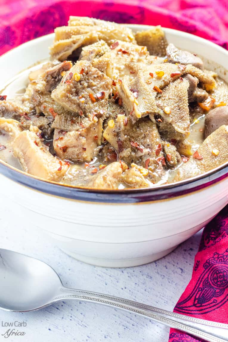 closeup image of nigerian pepper soup with assorted meat