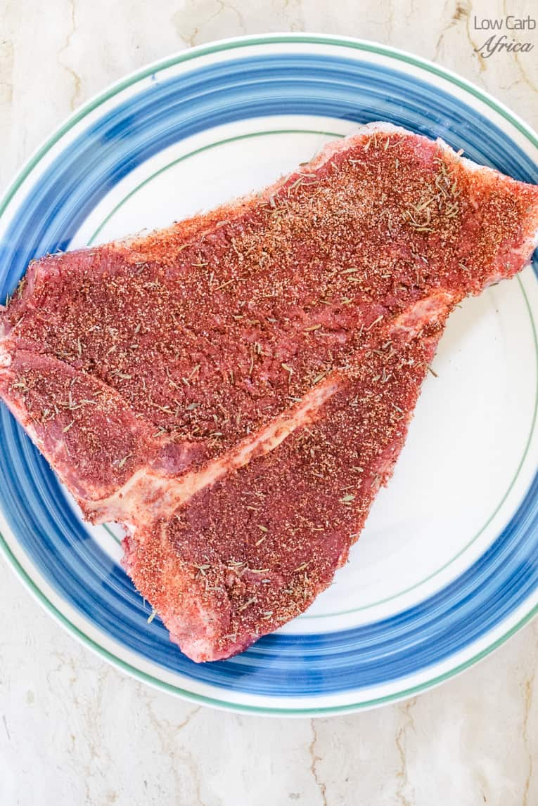 t-bone steak with homemade dry rub