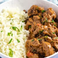 Mafe, senegalese peanut stew served with rice