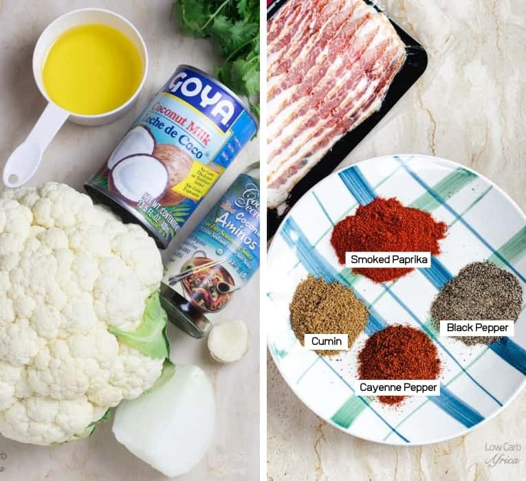Spicy cauliflower soup ingredient collage