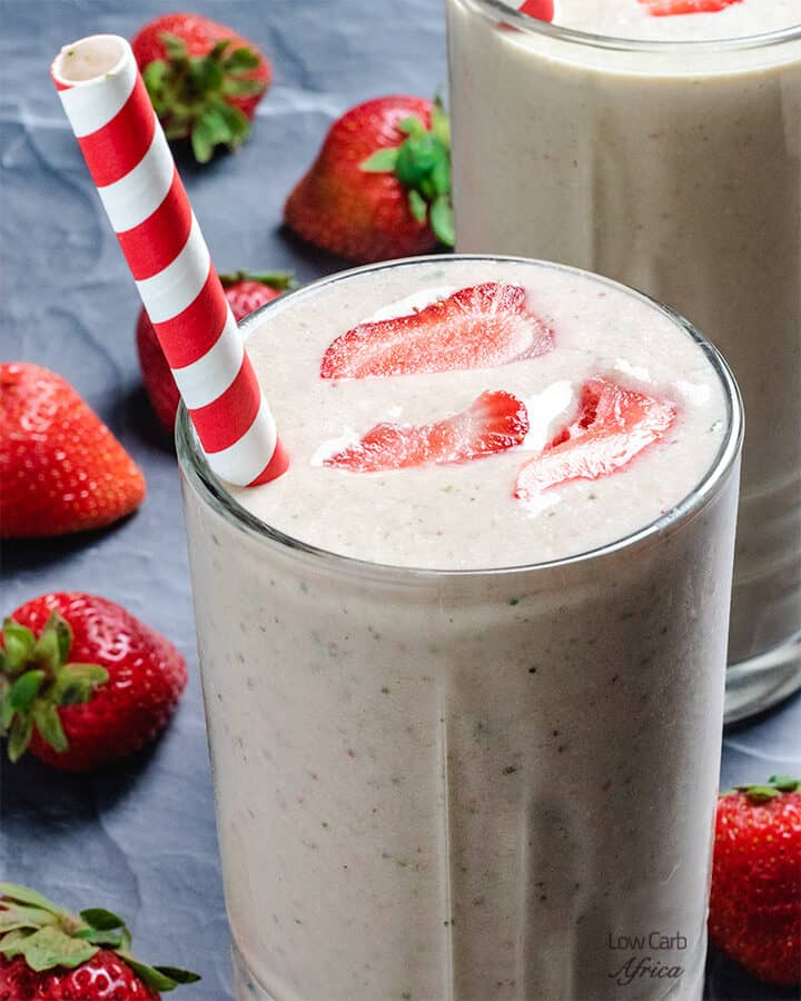 low carb and keto strawberry smoothie