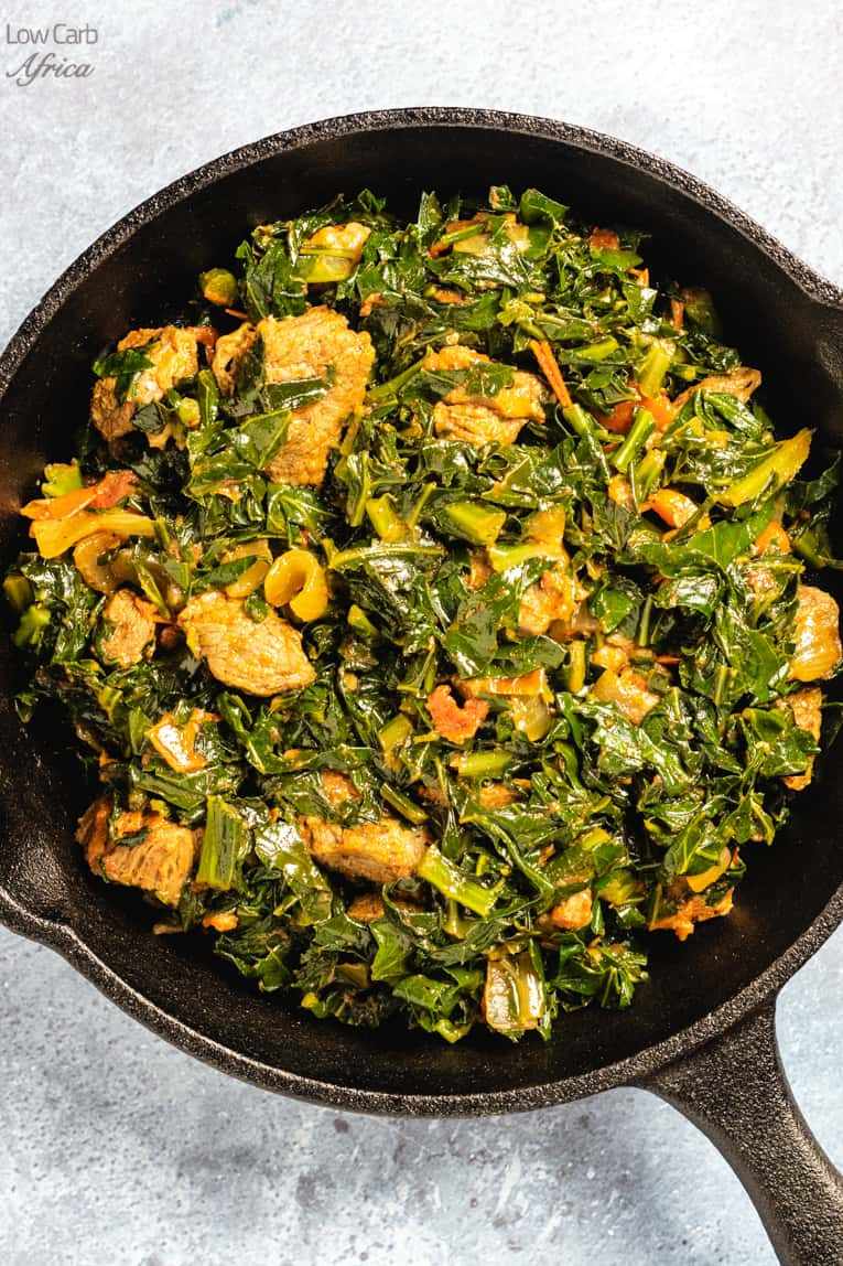 pan showing kenyan sukuma wiki