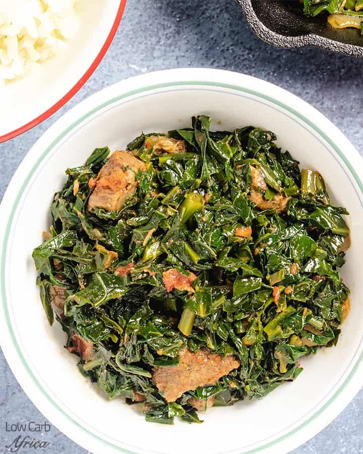 featured sukuma wiki image with cauliflower rice